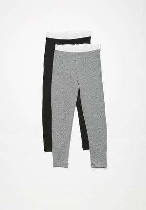 Dailyfriday Kids Winter Leggings - 2 Pack Pants & Jeans Black & Grey