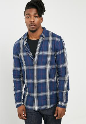 New Look Bold Long Sleeve Check Shirt Blue, Red & White