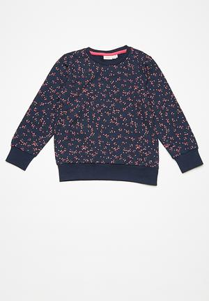 Name It Fiona Long Sleeve Sweat Tops Navy, Green & Pink
