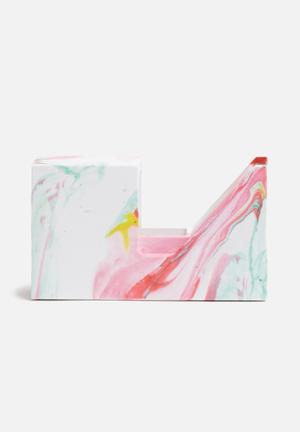 Mustard  Marble Tape Dispenser Gifting & Stationery