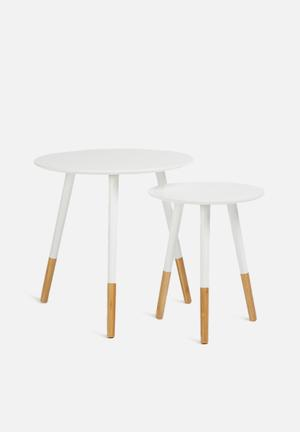 Present Time Graceful Table Set - White  White