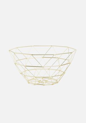 Present Time Diamond Cut Basket - Gold Kitchen Accessories Iron