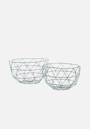 Present Time Linea Fruit Bowl Set Of 2 - Green Kitchen Accessories Green