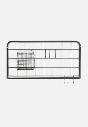 Present Time Open Grid Kitchen Rack Set - Matt Black Metal