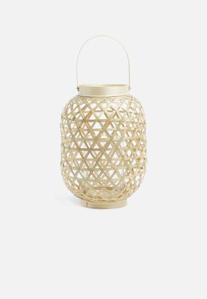 Present Time Medium Lattice Lantern - Natural Bamboo Pool & Fun