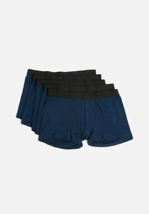 Basicthread Boxers 5 Pack - Navy Underwear Navy