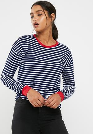 New Look Long Sleeve Stripe Fitted Ringer Top T-Shirts, Vests & Camis Navy, White & Red