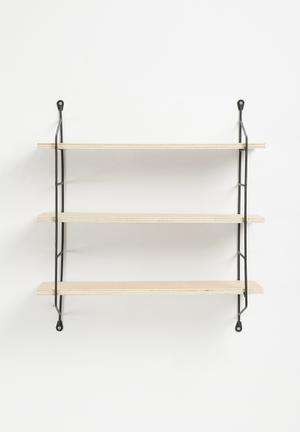 Sixth Floor Deco Shelf - Black Powdercoated Aluminium And Light Wood