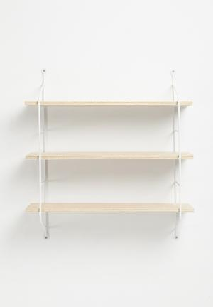 Sixth Floor Deco Shelf - White Powdercoated Aluminium And Light Wood