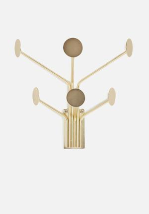 Present Time Wall Dots Coat Hanger - Gold Accessories Gold