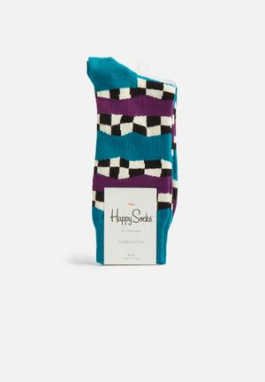 Happy Socks Checkered Stripe Socks Blue, Purple, White & Black