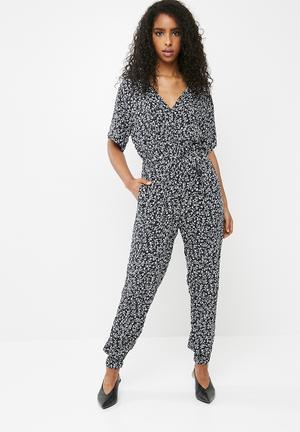 Cotton On Woven Olivia V- Neck Cuffed Jumpsuit Dark Navy & White