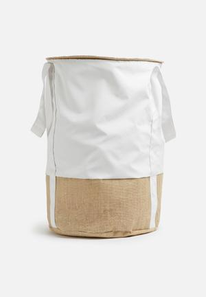 Sixth Floor Natural Laundry Bag - White Bath Accessories
