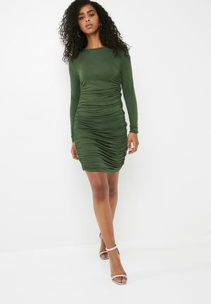 Dailyfriday Rouched Bodycon Dress - Green Casual Olive