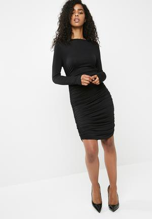 Dailyfriday Rouched Bodycon Dress - Black Casual Black