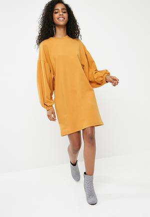 Dailyfriday Sweat Dress With Drop Shoulder - Yellow Casual Mustard