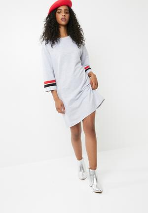 Dailyfriday Sweat Dress - Grey Casual Grey Melange, Red & Black