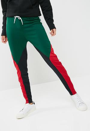 Missguided Colour Block Slim Leg Joggers - Multi Trousers Red, White, Green, Black & Red