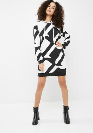 G-Star RAW Hyce Loose Long Hoodie Dress - White & Black Casual Black & White