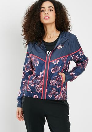 Nike Printed Floral Jacket - Multi Navy, Red & Pink