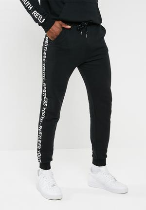 Basicthread Slim Fit Tape Sweatpant - Black Black & White
