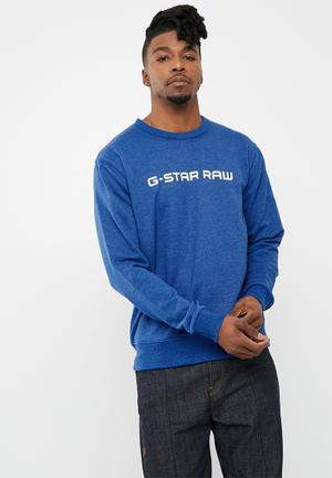 G-Star RAW Loaq Heavy Sherland Top - Blue Hoodies & Sweats Blue & White