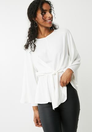 Dailyfriday Tie Front Blouse - White  White