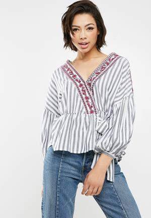 New Look Jacob Striped Embroidered Wrap Top - Blue Blouses Blue, White & Purple