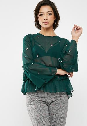 New Look Emmet Floral Double Peplum Top - Green Blouses Green & Pink