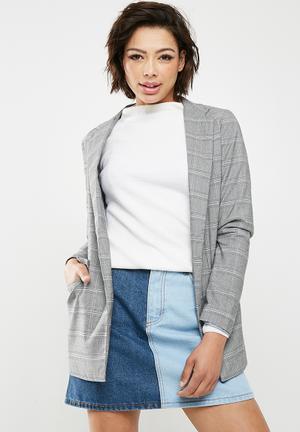 New Look Check Blazer - Grey Jackets Grey, Black & Blue