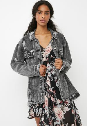Missguided Mottled Raw Hem Denim Jacket - Black  Black