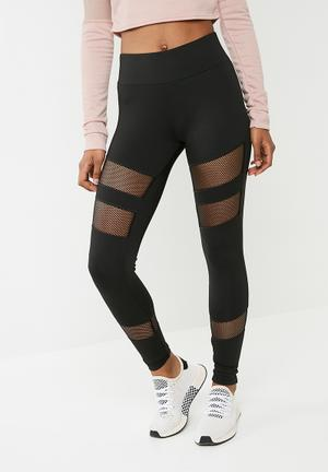 Missguided Fishnet Panel Leggings - Black Bottoms Black