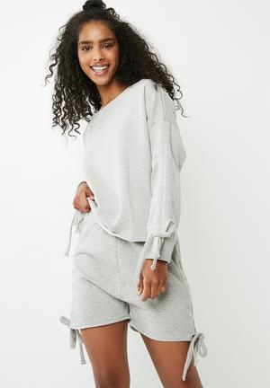 Missguided Ruched Lounge Wear Short Set - Grey Sleepwear Grey