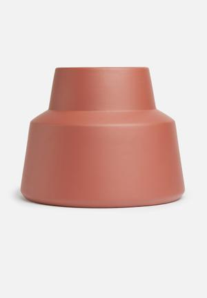 Grey Gardens Hex Vase - Terracotta Accessories Ceramic Fired Painted