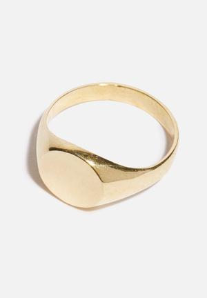 Matter Of Fakt Blank Brass Signet Ring - Gold Jewellery Gold