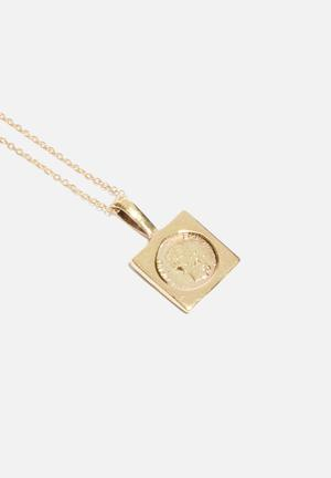 Matter Of Fakt Square Peso Pendant Necklace - Gold Jewellery Gold