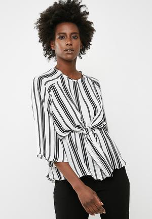 Dailyfriday Tie Front Stripe Blouse - White & Black White & Black