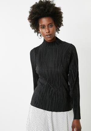 Vero Moda Plissé High Neck Long Sleeve Top - Black Blouses Black