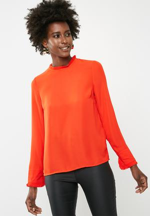 Vero Moda Luigi Long Sleeve Top - Orange Blouses Orange