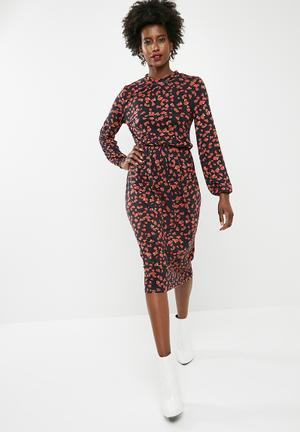 Vero Moda Kenya Long Sleeve Calf Dress - Black Casual Black, Red & Brown