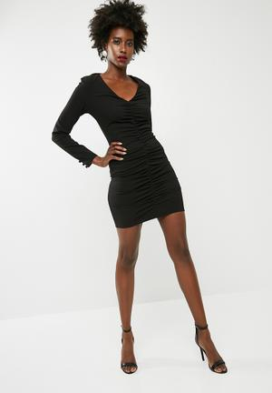 1cee5280f74f Structured long sleeve bodycon - black