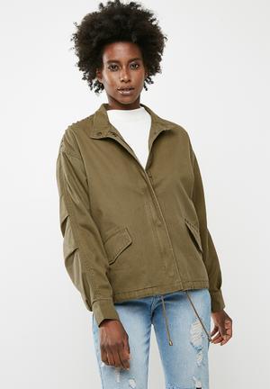 Jacqueline De Yong Jojo Stud Canvas Jacket - Green  Green