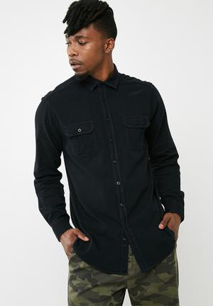 88b135cb1ec Regular ripped denim shirt - black