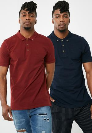 2-pack pique slim fit polo - navy & burgundy