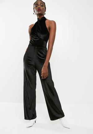 f21827f3471 Velvet wide leg jumpsuit - black
