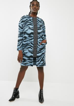 Vero Moda Zanzana Longsleeve Open Coatigan - Blue & Black Knitwear Blue & Black
