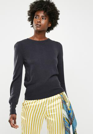 dd8f4b9e64a2a Jacqueline De Yong Arobic Long Sleeve Pullover Knt - Navy Knitwear Navy