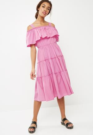 Loka cold shoulder midi dress - purple