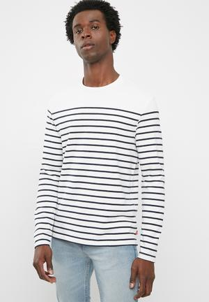 Mission stripe long sleeve tee - white & black