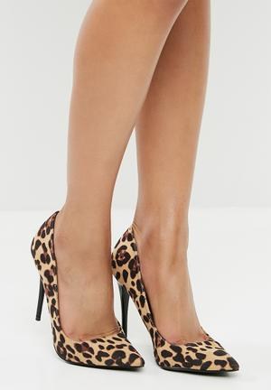 Leopard Print Stiletto Heel Tan